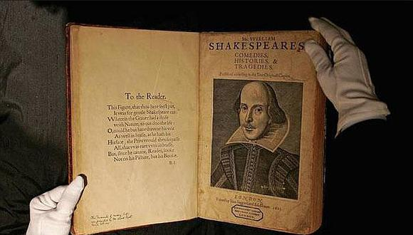 """Imagen de un ejemplar del """"First Folio"""" de Shakespeare"""