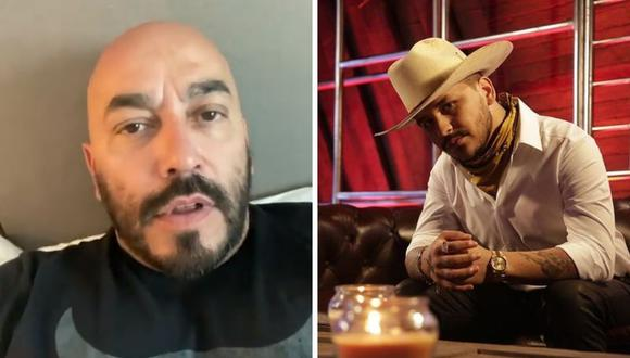 "Lupillo Rivera responde a Christian Nodal luego que este le diga ""puerco"" por un error al querer decir ""cuerpo"".  (Foto: Instagram @lupillorivera /@nodal)"