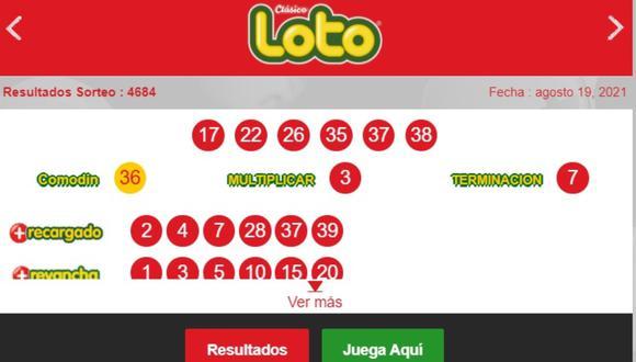 Este domingo 19 de setiembre se jugará una nueva edición de Loto, una de las loterías más populares de Chile. FOTO: Captura/Loto