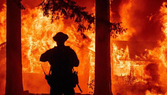 En California, el incendio Dixie, el mayor del estado, a unos 200 kilómetros al norte de Sacramento, ya ha consumido 780 kilómetros cuadrados de terreno. (Foto: Josh Edelson / AFP)