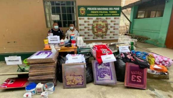 Según la policía la vivienda de un intervenido funcionaba como almacén y el inmueble de su cómplice operaba como taller clandestino (Foto: PNP)