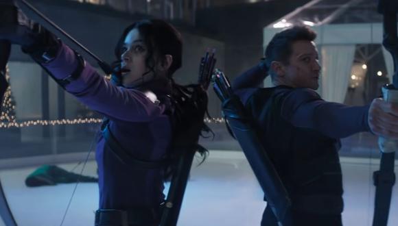 """Hailee Steinfeld y Jeremy Renner en una escena de """"Hawkeye"""". (Foto: Marvel Studios)"""