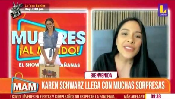 """""""Mujeres Al Mando"""": Karen Schwarz regresó al programa en reemplazo de Maricarmen Marín. (Foto: Captura)"""