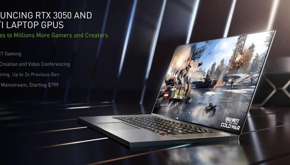 Nvidia presenta las nuevas RTX 3050 y RTX 3050 Ti para laptops. (Imagen: Nvidia)