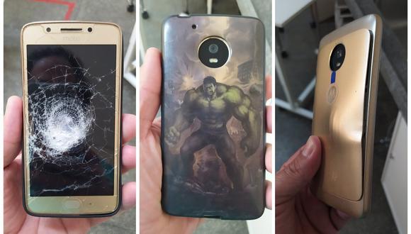 Se salvó de un balazo gracias a su celular y su funda de Hulk. (Foto: Twitter | Oparbento1)