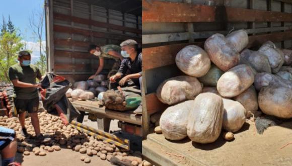 Ayacucho: camión iba cargado con más de 74 kilos de marihuana camuflados en sacos de papas (Foto: PNP)