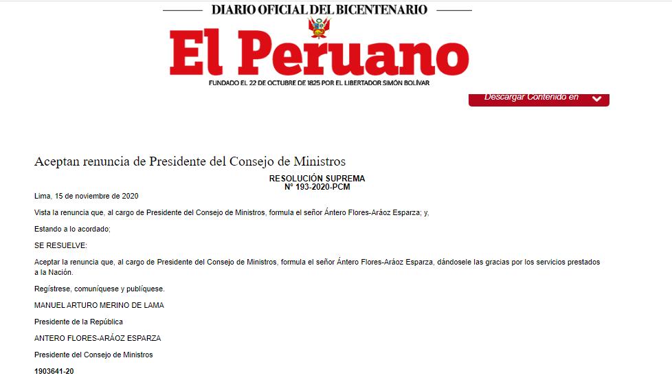 Las resoluciones se publicaron este martes en el diario oficial El Peruano. (Captura)