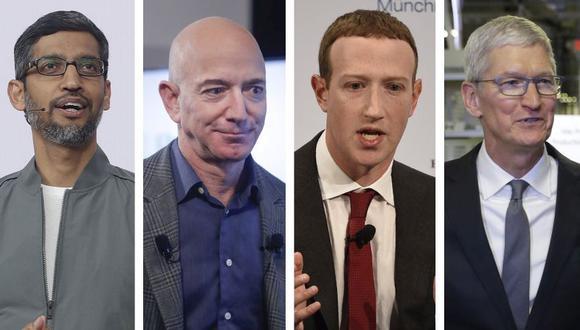 Los CEO Sundar Pichai (Alphabet, matriz de Google), Jeff Bezos (Amazon), Mark Zuckerberg (Facebook) y Tim Cook (Apple) asisten este miércoles a una audiencia virtual convocada por el Congreso de Estados Unidos. (Foto: AP)