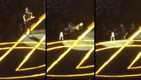 Facebook: guitarrista de U2 se cae del escenario [VIDEO]