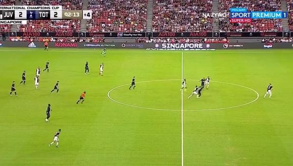 El perfecto golpeo de la pelota de Kane desde el mediocampo. (Foto: captura de video)