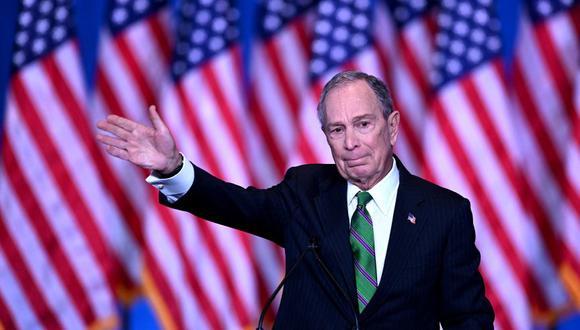 Michael Bloomberg realizó la campaña autofinanciada más cara de la historia electoral de Estados Unidos, en la que invirtió 102 millones de dólares. (Foto: AFP).