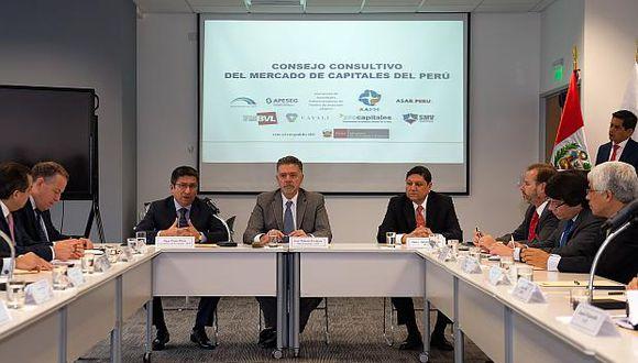 Pereainauguró está mañana la primera reunión del Consejo Consultivo del Mercado de Capitales del Perú. (Foto: USI)