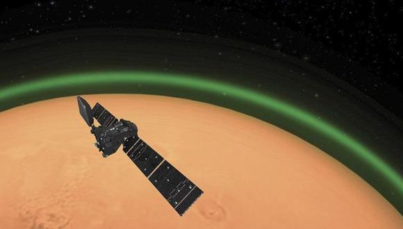 Recreación del brillo verde alrededor de Marte. (AGENCIA ESPACIAL EUROPEA)