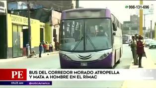 Rímac: bus del Corredor Morado atropella a peatón y causa su muerte