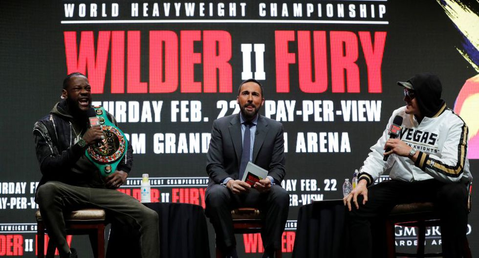 Boxing - Deontay Wilder & Tyson Fury Press Conference - The Grand Garden Arena at MGM Grand, Las Vegas, United States - February 19, 2020  Deontay Wilder and Tyson Fury during the press conference  REUTERS/Steve Marcus