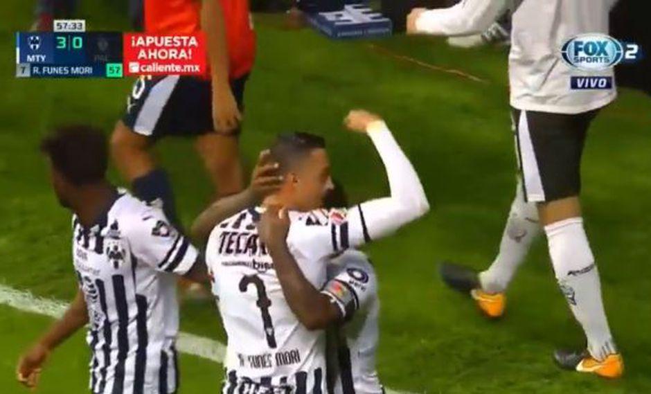 Rogelio Funes Mori y el gran remate para el 3-0 de los 'Rayados' en la primera fecha del Clausura de la Liga MX 2019. | Foto: captura