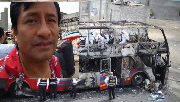 David Suclupe y su esposa, Rosa Anaya, viajaban a Chiclayo cuando se incendió el bus en Fiori (El Comercio)