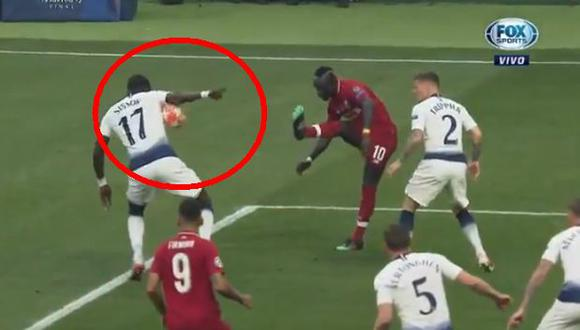 Liverpool vs. Tottenham EN VIVO: así fue la mano de Sissoko en la final de la Champions League | VIDEO. (VIdeo: FOX Sports / Foto: Captura de pantalla)