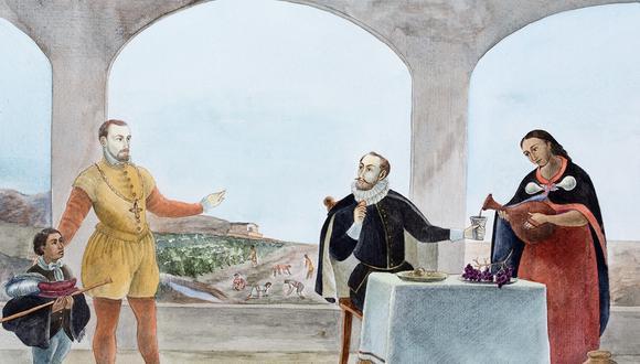 Ilustración libre. Se ve a Hernando de Montenegro e hijo mestizo con el marqués de Cañete y mujer india. Al fondo, las viñas del español.