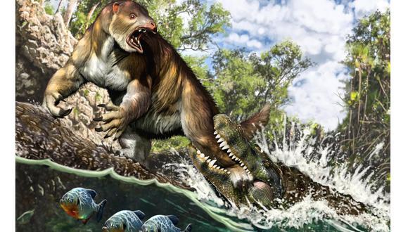 Reconstrucción del ataque de un Purussaurus a un perezoso terrestre Pseudoprepotherium. (Ilustración: Jorge A. González)