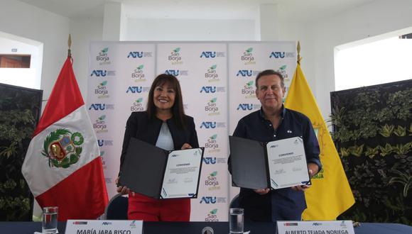 El convenio fue firmado por el alcalde de San Borja, Alberto Tejada, y la presidenta de ATU, María Jara. (Difusión)