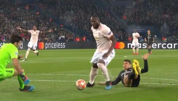 Manchester United vs. PSG: Lukaku marcó el 1-0 al minuto del partido de Champions League. (Foto: captura)