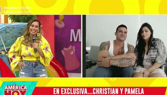 Christian Domínguez y Pamela Franco presentaron a su bebé en televisión. (Foto: Captura de video)
