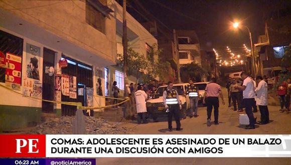 Adolescente de 15 años fue asesinado de un balazo cuando se encontraba reunido con dos amigos(Captura: América Noticias)