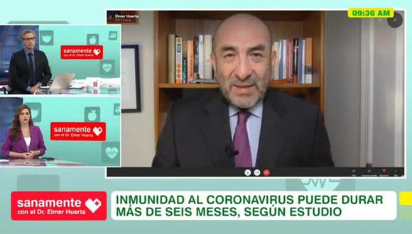 """""""Hay datos y son sólidos"""", asegura el doctor Elmer Huerta sobre la solicitud de Pfizer a la FDA. (Foto: Captura América TV)."""