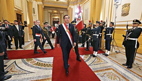 Martín Vizcarra dio ayer el que podría ser su último discurso de Fiestas Patrias como mandatario del Perú. (Foto: Alonso Chero / GEC)