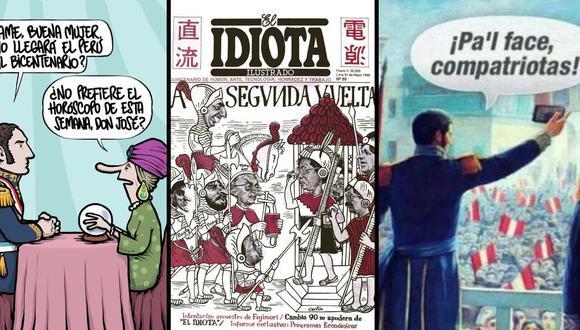 """De izq. a der.: una caricatura de Andrés Edery para El Comercio; portada de la revista """"El idiota ilustrado"""", de 1990, obra de Carlín; un meme, anónimo y efímero como casi todos."""