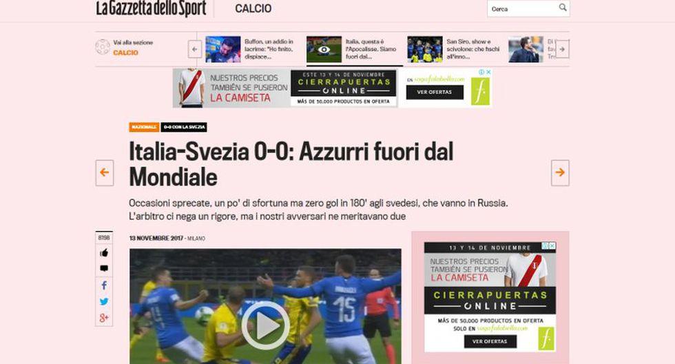 La Gazzetta dello Sport - Italia. (Foto: captura de pantalla)