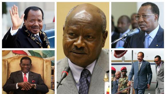 Además de Yoweri Museveni, en Uganda (al centro) hay varios presidentes que permanecen décadas en el poder en África. Como Paul Biya, en Camerún (izquierda, arriba): Teodoro Obiang Nguema, en Guinea Ecuatorial (izquierda, abajo); Idriss Déby, en Chad (derecha, arriba) e Isaías Afewerki, en Eritrea (derecha, abajo). (Fotos: AFP)