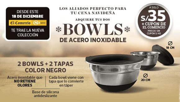 Una promoción de Bowls de acero inoxidable que no debe faltar en tu cocina en esta navidad, ademas es de acero inoxidable con silicona antideslizante y cuenta con dos tapas de color negro.