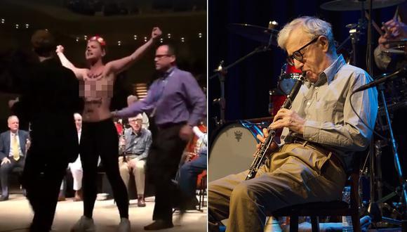 Activistas que interrumpieron en concierto de Woody Allen  llevaban escritas sobre el pecho declaraciones de Dylan Farrow. (Fotos: Agencias/ Captura de Facebook)