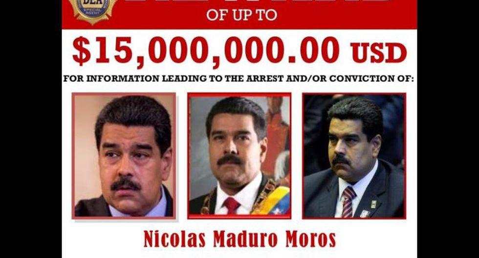 Estados Unidos ofrece una recompensa de 15 millones de dólares por información que lleve a la captura del presidente de Venezuela Nicolás Maduro para juzgarlo por narcotráfico. (Reuters).