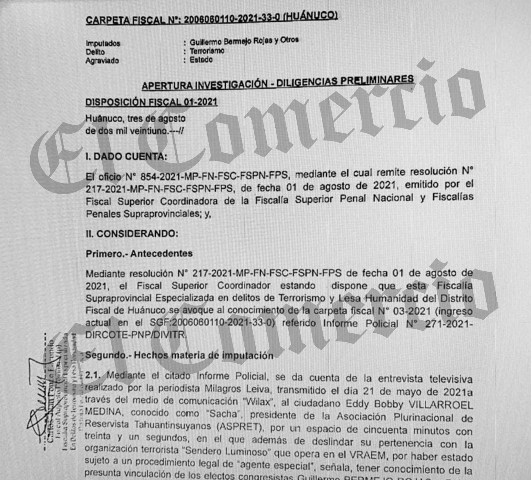 Disposición de la Fiscalía Supraprovincial Especializada en Delitos de Terrorismo y Lesa Humanidad de Huánuco.