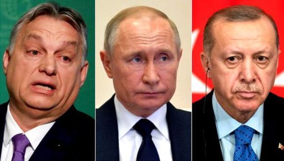 Viktor Orban, primer ministro de Hungría (izq.), Vladimir Putin, presidente de Rusia, y Recep Tayyip Erdogan, de Turquía. (Foto: Reuters/EPA, via BBC Mundo)
