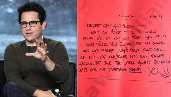 """""""Star Wars"""": ¿J.J. Abrams motiva a actores con este mensaje?"""