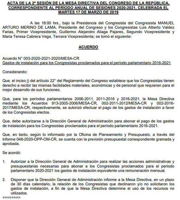Gastos De Instalación Del Congreso Qué Son Y Por Qué Su Cobro Ha Retornado A La Palestra Parlamento Nczg Politica El Comercio Perú