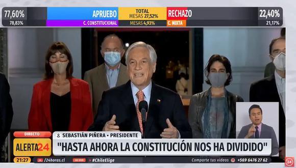 El presidente de Chile, Sebastián Piñera, se pronunció poco después de conocerse los primeros resultados del plebiscito.