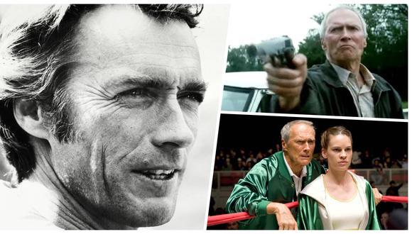 """Uno de los grandes rostros del cine así como uno de los directores más ilustres. A los 91 años, el nombre de Eastwood es leyenda. En la imagen, en sentido horario, el actor y director en 1974 mientras filma """"The Eiger Sanction"""" en Alemania; en una escena clave de """"Gran Torino"""" (2008) y en la galardonada """"Million Dollar Baby"""" (2004), junto a Hillary Swank. Fotos: AFP/ Warner Bros."""