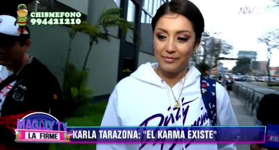 """La conductora de televisión se mostró sonriente ante las cámaras de """"Magaly TV, la firme"""". (Captura de televisión)"""