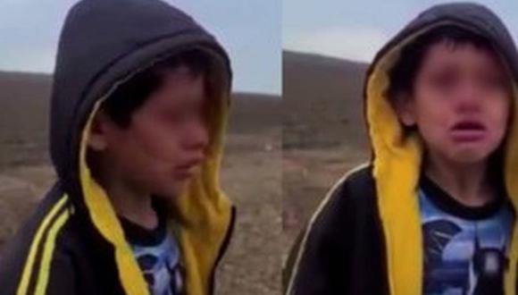 Wilton Eniel Gutiérrez, de 10 años, fue encontrado solo en la frontera entre Estados Unidos y México. (Captura de video).