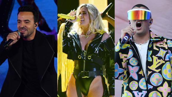 Luis Fonsi, Karol G y Bad Bunny se llevaron premios en los Latin Billboard 2020. (Foto: AFP)