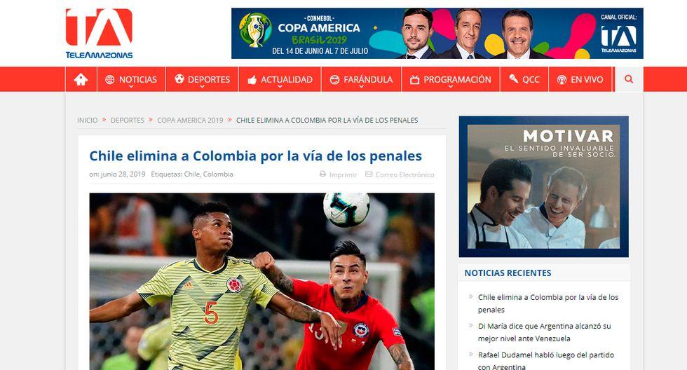 Así informaron los medios internacionales la clasificación de Chile en la Copa América. (Teleamazonas de Ecuador)
