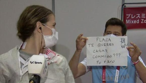 Dijo que sí: entrenador le pidió matrimonio a esgrimista argentina en los Juegos Olímpicos Tokio 2020