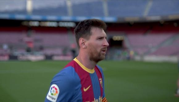 El gesto de Lionel Messi después del Barcelona vs. Atlético de Madrid. (Foto: LaLiga)