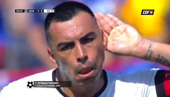Esteban Paredes marcó el 1-1 en el U. de Chile vs. Colo Colo, clásico por la novena fecha del campeonato sureño. (Foto: captura de YouTube)