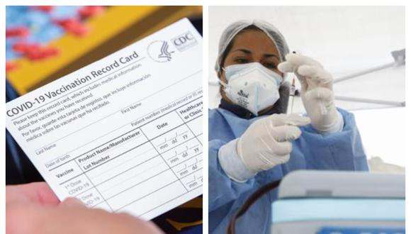 Izquierda: esta es la cartilla de vacunación que se entrega en los Estados Unidos. Derecha: personal del Ministerio de Salud del Perú ya aplicó más de 11 millones de dosis a nivel nacional. (Fotos referenciales: CNN en español / El Comercio)